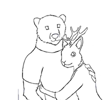Prizzly Bear And Jackalope WIP by chloerosewolf