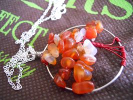 Fiery Red Agate Tree Pendant by AgtBauer24