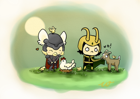 Loki and Thor by wivimon