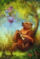Bear and ukulele by sans-art