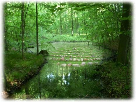 Green Pond and Labyrinth by visionriver