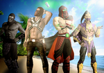 MK - Ermac, Erron, Rain and Noob at the Beach by SovietMentality