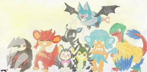 Commission: AceBlazewing's Pokemon Team! by blushiee