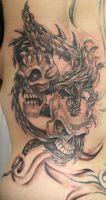Dragon Skulls Tattoo by 2Face-Tattoo