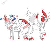 Sylveon and shiny mega absol by rainbowfoxling