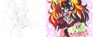 Harley Quinn sketch and color fan art 01 + youtube by d13mon-studios