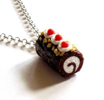 Chocolate Roll Cake Necklace by FatallyFeminine