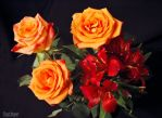 Orange roses ans Lily 2 by ReygarFaust
