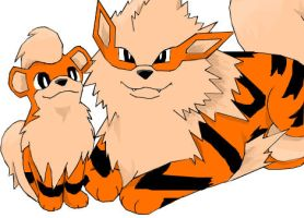 Growlithe and Arcanine by worldofyarn