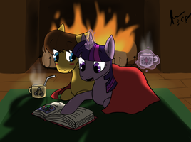 Twilight and Caramel: Fireside Book by Moonstruck-badger