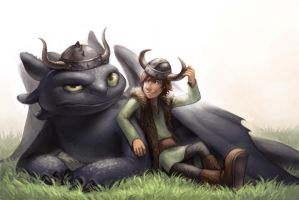 Toothless and Hiccup by Scyao