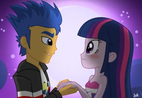 Equestria Girls:  Flash Sentry x Twilight by benkomilk