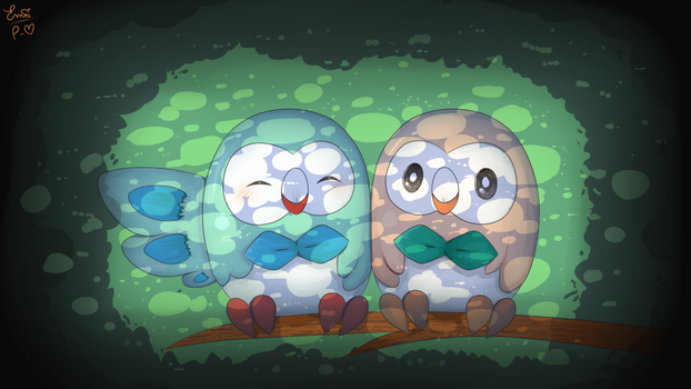 Two Rowlets Sitting In A Tree by Painted-Heart