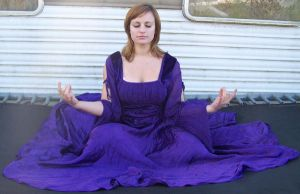 Purple Dress - Spiritual Pose? by Gracies-Stock