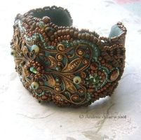 Beaded Filigree Cuff Bracelet by Beadmask