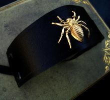 Leather Spider Cuff Bracer - Gold Brass Large by LadyPirotessa