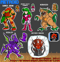 METROID 8-BIT CHARACTERS by BrokenTeapot