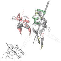 Jade vs. Skarlet, Sketch by satoopid