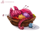 Daily Paint #998. Yarn Cat (OG) by Cryptid-Creations