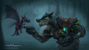 Worgen Druid teaching the pets by Bering