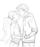 Sketch: Wally and Artemis by Grimmby