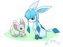 28 May- Minccino and Glaceon by Bluekiss131