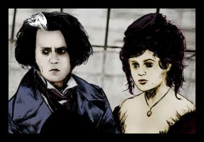 Sweeney Todd and Mrs Lovett by purgatoryboy