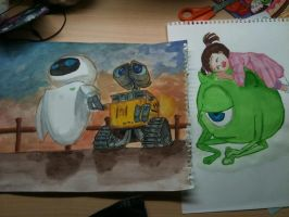 Wall-e and Monster.inc by Jen-Chan93