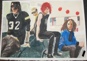 a shitty watercolour of My Chemical Romance woot by DaysOfAberrance