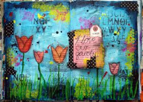 Garden - Art Journal Page by ambrabealey