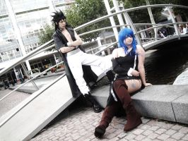 Gajeel and Juvia waiting for trouble by sato92