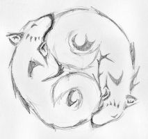 Ying Yang Wolves Rough Ink 1 by Keira-Blacktalon