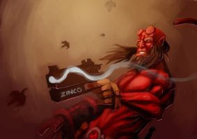 Hellboy paint by MightyMoose