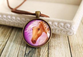 Purple glass pendant Palomino horse by LunarFerns