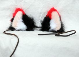 Red-Tipped Black Wolf Ears by LobitaWorks