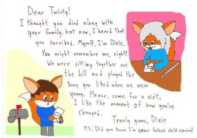 A letter from Dixie the fox by Twistermon