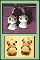 Panda earrings by tesslacoiled