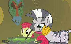 Zecora and Apple Bloom by QueenCold