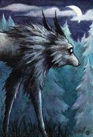 Slinking Wolf II watercolour painting by shmeeden