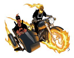 Ghost Rider and Deadpool Joy Ride by KSWlodyga