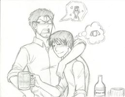 Sketch Hughes and Roy drunk by KN-KL