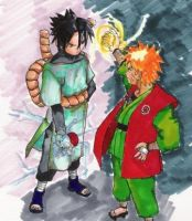 old work: sasuke and naruto by sharingandevil