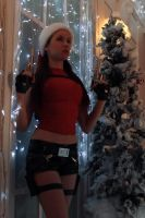 Christmas Lara Croft and Christmas tree by TanyaCroft