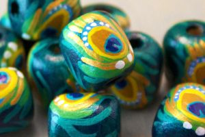 Handpainted Wood Peacock Beads by OneUrbanTribe