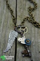 Wire Wrapped Antique Skeleton Key Steampunk by Louness26