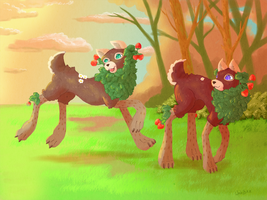 Strawberry dogs by WalnutSprout