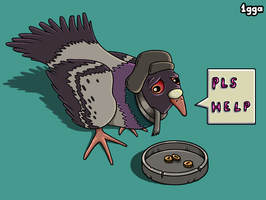 Sad Bum Pigeon by 1gga