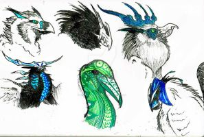 Griffin/strange bird heads by DragonWolfAshes