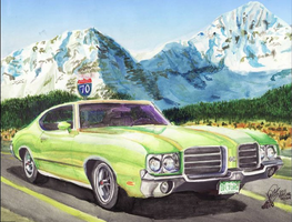 1970 Olds 442 In The Rockies by FastLaneIllustration