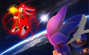 Sonic Vs Shadow - Wallpaper by SonicTheHedgehogBG